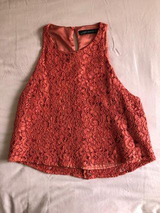top orange lace zara