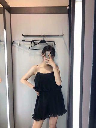 European and American style black small pleated strap dress