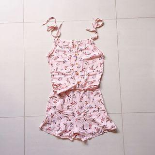 Blush pink floral romper / short jumpsuit