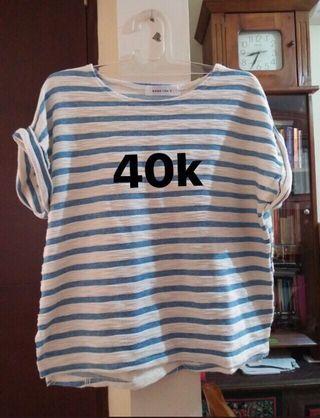 Nett - Korean blue stripe oversized blouse