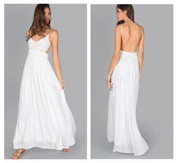 Beautiful White V Neck Lace Overlay Backless Pleated Party Maxi Dress