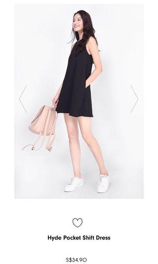 🚚 Hyde Pocket Shift Dress in Black