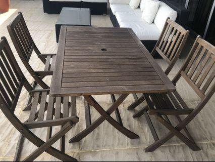 Terrace table + 4 chairs