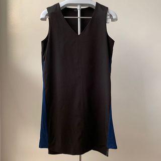 V-Neck Black Dress w/ Blue Details