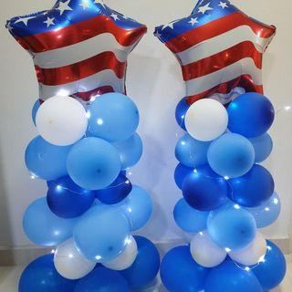 Rental Of Party Balloon Stand Decorations With Fiary Lights