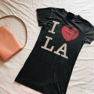 Tee t shirt in grey I Love LA Junk Food 圓領女裝T Shirt 修身 修腰 XS-S