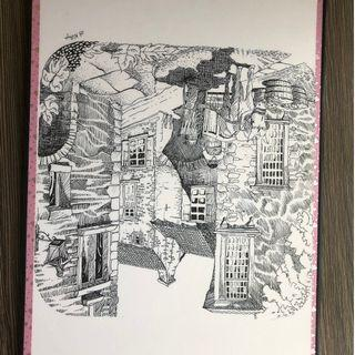 Pencil sketches - Urban Area Rug, Cityscape [Moving out scale]