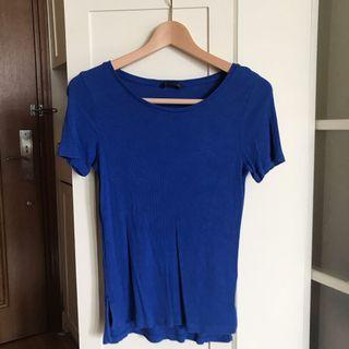 M&S Marks & Spencer Tee In Royal Blue 馬莎棉質t shirt tee 藍色 100%cotton size 6