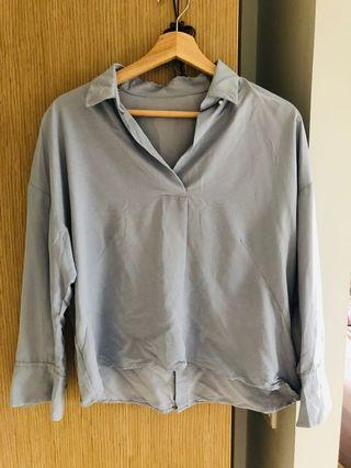 🚚 UK 12 Sky Blue color blouse from Japan (Brand New)