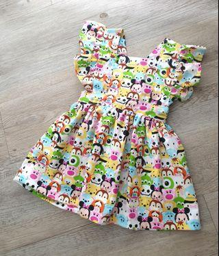 *6-9 M* Baby Pinafore Dress/ vintage modern Ruffled Baby Dress / baby girl boho dress/ tsumtsum disney