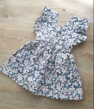 *6-9M* Floral Pinafore Dress/ Girls boho dress /Baby classic Ruffled Pinafore dress/ baby dress