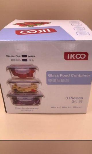 全新  IKOO Glass Container  一套三件玻璃保鮮盒  A set of 3 pieces (320ml, 520ml & 800ml)
