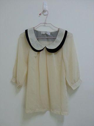 🚚 米白雪紡衫