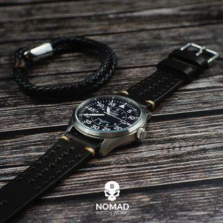 Oxford Leather Bracelet in Black
