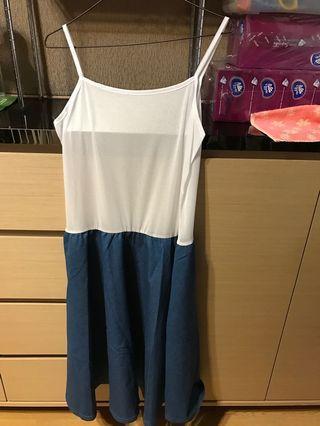 One piece 藍白連身裙