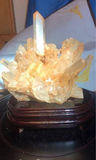 天然黃晶簇附訂製木底座