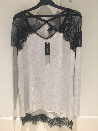 WHBM Long Sleeve Lace Shoulder Top
