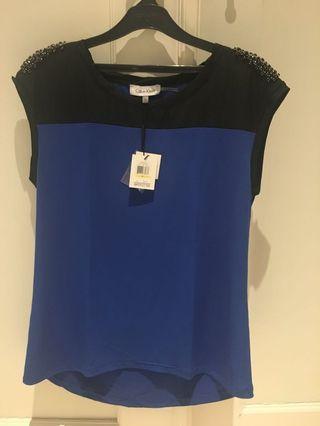 Calvin Klein Blue Woman Top Sequin Shoulder
