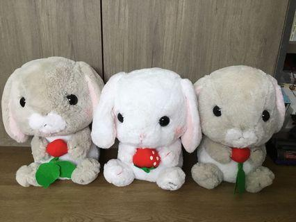 Amuse Japan Adorable Grey and White Strawberry Bunny Rabbit