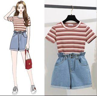 [PO] ULZZANG STRIPED TEE WITH DENIM SHORTS