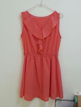 🚚 橘紅色雪紡洋裝