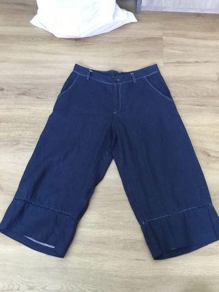 Navy Blue Denim 3/4 Pants Shorts