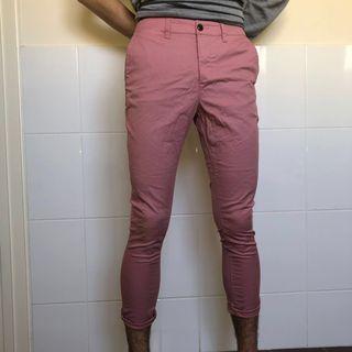 Mens Three Quarter Pink Chinos