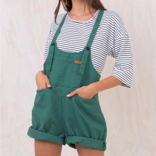 Green Denim Overalls Princess Polly XS