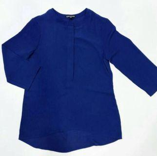 BNWT - Express Lovely Electric Blue Zipper Tunic Top #mauvivo