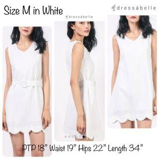 Dressabelle Baby Scallop Hem Flare Trim Dress with Belt Size M in WHITE