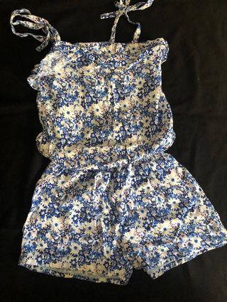 One piece blue floral romper jumpsuit from US