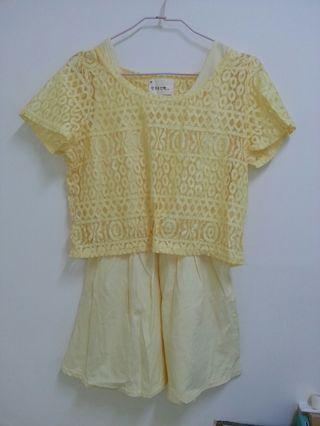 🚚 韓貨 粉黃蕾絲兩件式洋裝