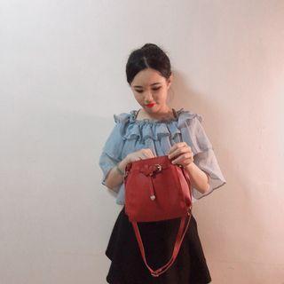 春夏新款網紅韓系紅色肩背包側背包(全新)