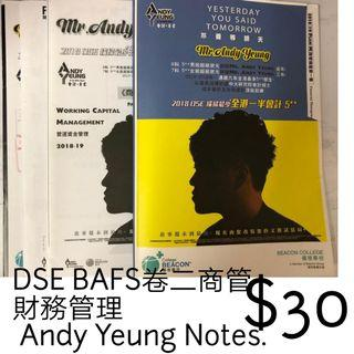 DSE BAFS卷二商管財務管理 Andy Yeung Notes.