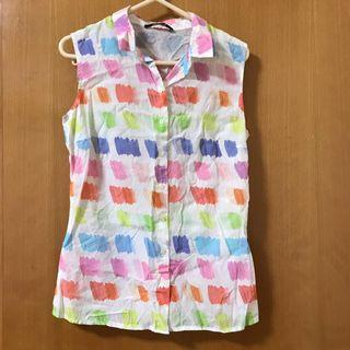 彩色無袖襯衫 Colorful sleeveless blouse