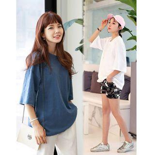 韓國空運 韓製 厚竹節棉T恤 藍色/黑色/白色