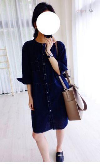 韓 單穿就無敵~拷克襯衫式洋裝。深藍