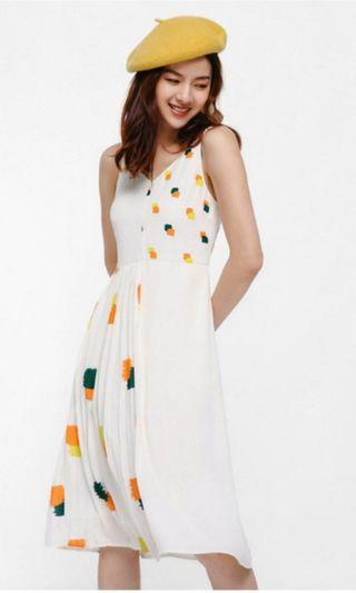 Cambrie contrast pleated midi dress