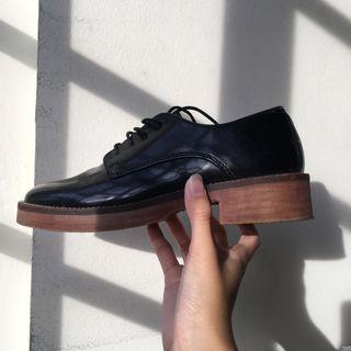 mango black lace up shoes