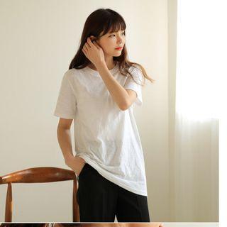 韓國空運 韓版 HOME竹節棉短袖長款T恤  象牙白色,淺綠色,橄欖黃,淺灰色, 黑色
