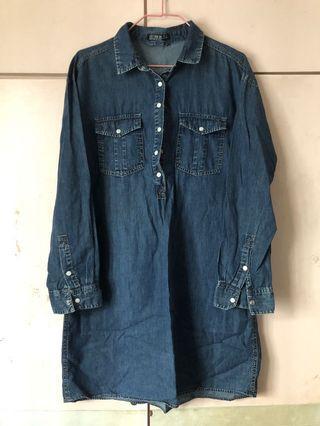 Cotton denim shirt dress