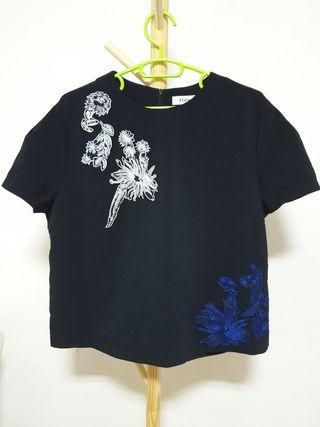 Plus size - Black blouse with embroidery