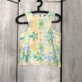 Mango MNG Floral Cut in Printed Pastel Pretty Baby Light Sweet Green yellow Sleeveless Halter Top Blouse