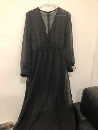 透膚黑紗長裙