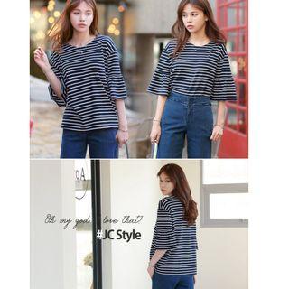 韓國空運 韓製 荷葉袖T恤 白色/黑色/海軍藍色
