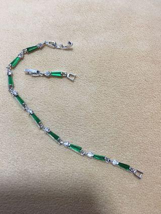 🚚 Green Emerald White Topaz Silver Overlay Link Chain Bracelet
