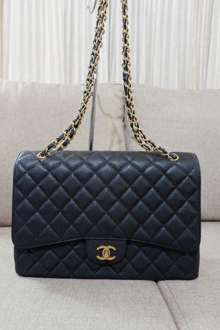 76d7a38192e2f9 Chanel Maxi Black Caviar Gold hardware