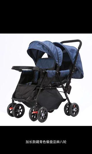 Brand new/double stroller/baby twin pram/2 ways/free:raincover