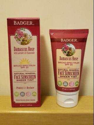 Badger Company Damascus Rose Face Tint Suncreen 大馬士革玫瑰有色面部防曬霜 SPF 25