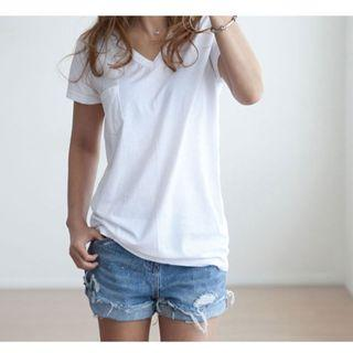 韓國空運 韓版  V領素色口袋短T恤 多色可選購  **再購買率高的熱銷商品**